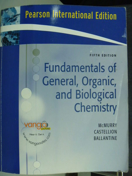 【書寶二手書T5/大學理工醫_ZGW】Fundamentals Of General Organic 5/e