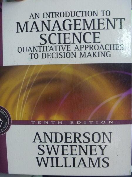 【書寶二手書T5/大學理工醫_QLC】Management Science_3/e_Dennis J. Sweeney
