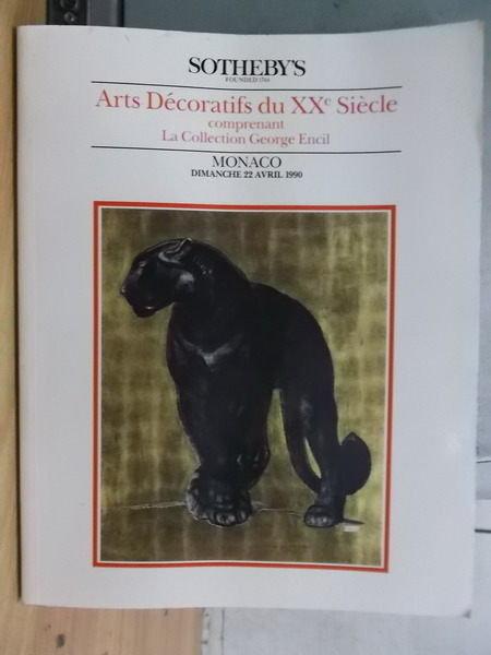 【書寶二手書T3/收藏_YCL】Sothebys_1990/4月_Arts Decoratifs XX Siecle