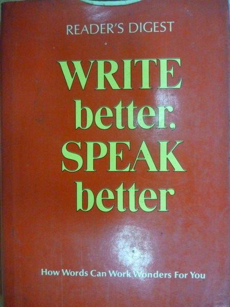 【書寶二手書T5/語言學習_ZJX】Readers Dogest_WRITE better..._紅皮