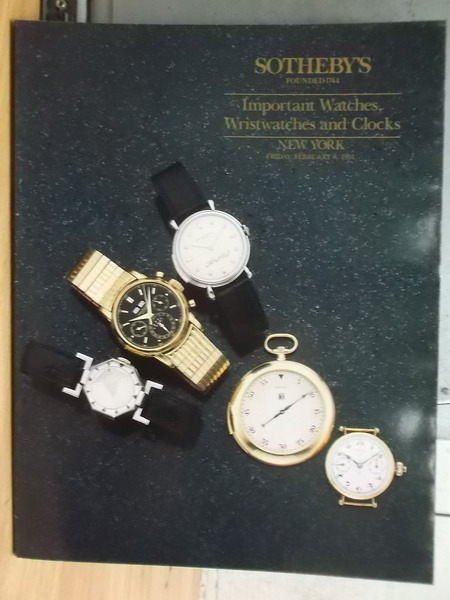 【書寶二手書T3/收藏_ZIJ】Sothebys_Important Watches…_1991/2/8