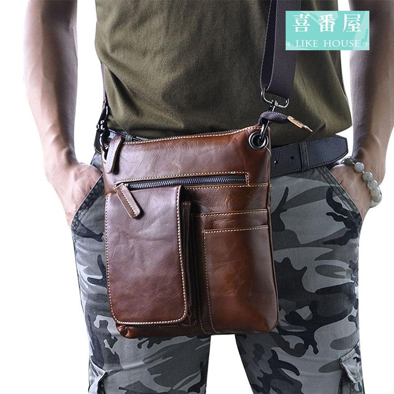 【喜番屋】日韓版真皮油蠟牛皮復古可裝10吋平板男士單肩包肩背包側背包斜肩包協跨包公事包文件包LB101