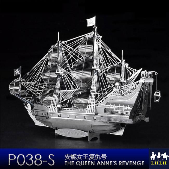 禮物 金屬模型 立體拼圖 銀 【現貨】 安妮女王復仇號海盜船 Queen Anne's Revenge