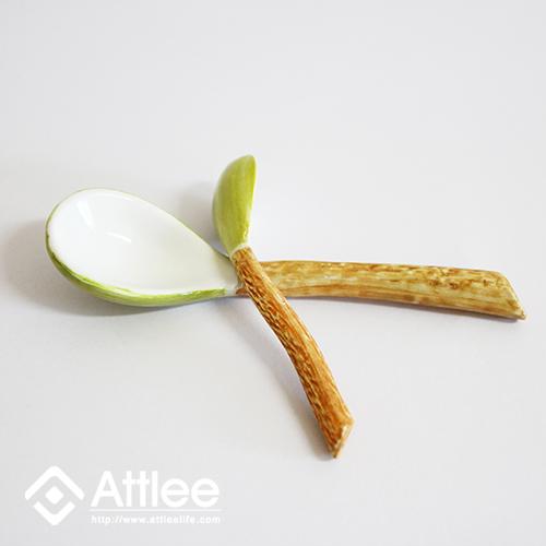Attlee椰子造型系列特製湯匙(大)創意甜品/造型容器/甜品碗/禮品/陶瓷/蓋碗/布丁/果凍
