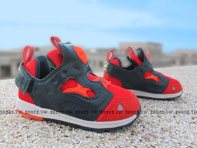 Shoestw【AR0714】Reebok Pump Fury 小童鞋 深灰紅 襪套 黏帶 小童