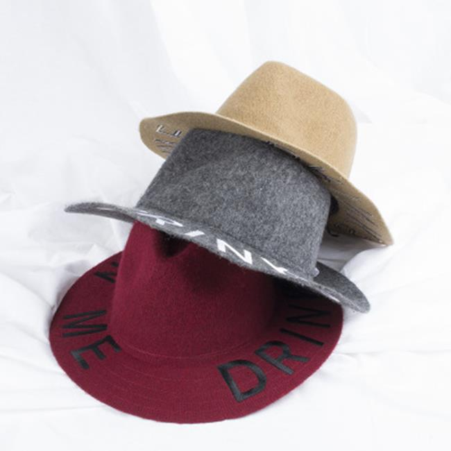 50%OFF【E016660SWH】英倫寬簷新品帽子秋天女式禮帽針織帽爵士帽女字母羊毛呢帽