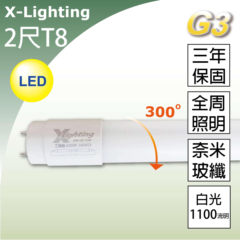 3年保LED T8 2尺奈米玻纖燈管(白光)全周光 EXPC X-LIGHTING (10w 20w 22w)