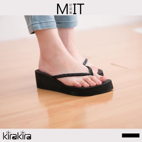 夾腳拖鞋  SALE 韓系簡約奢華水鑽楔型夾腳拖鞋