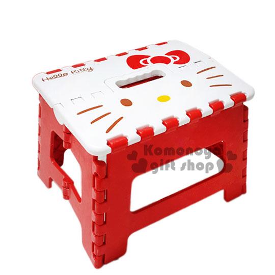 〔小禮堂〕Hello Kitty 折疊椅凳《小.白紅.大臉.蝴蝶結》不用時可折疊收納