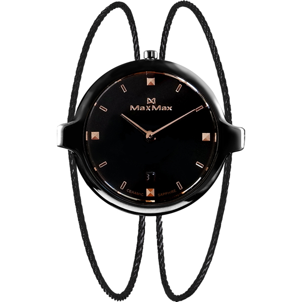 Max Max MAS5127-1手環式陶瓷腕錶/黑面30mm