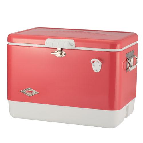 【露營趣】中和 送保護套 Coleman  51L草莓紅經典鋼甲冰箱 行動冰箱 冰桶 露營冰桶 CM-04166