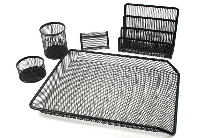 【凱樂絲】電腦桌書房辦公桌文具收納(5件組) - 文件籃,手機架,信件架,筆筒 - 黑色網狀設計