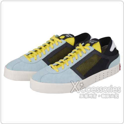 adidas Y-3 時尚潮流皮革混合網狀休閒運動鞋(淺藍)