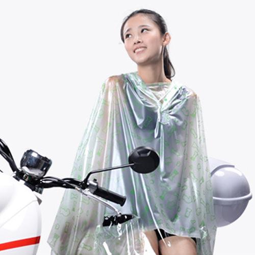 雨衣 印花透明鏡套成人雨衣/摩托車雨衣【EL0007】 BOBI  10/06