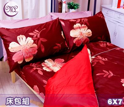 【名流寢飾家居館】風情萬種.100%精梳棉.特大雙人床包組.全程臺灣製造