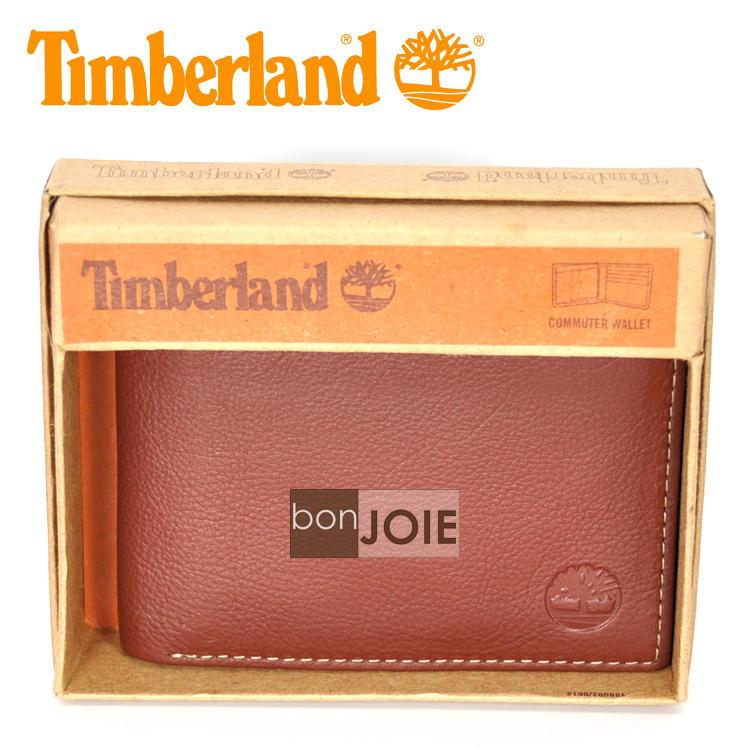 ::bonJOIE:: 美國進口 新款 Timberland 側翻式透明窗皮夾 (褐色)(附原廠盒裝) 真皮 三折式 短夾 實物拍攝