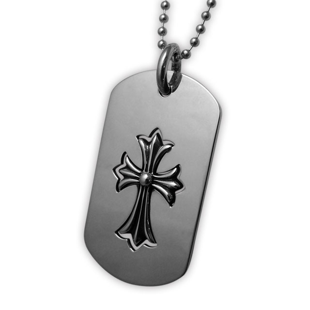 【海外訂購】【Chrome Hearts】半鏤空十字架純銀軍牌項鍊 Cut out cross / cross (CHDT-022  0107520000)