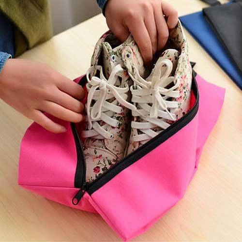 PS Mall╭*韓版旅行防水牛津布運動鞋袋 可折疊便攜式鞋子收纳袋 多功能收納旅行包 【J1044】