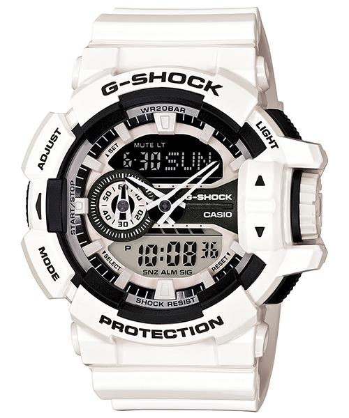 國外代購 CASIO G-SHOCK GA-400-7A 雙顯大錶面  運動防水手錶腕錶電子錶男女錶 白武士