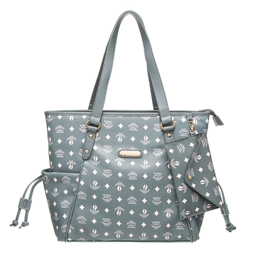 【XINWEI POLO】奢華LOGO風雙側口袋抽繩包附零錢包8129-灰綠