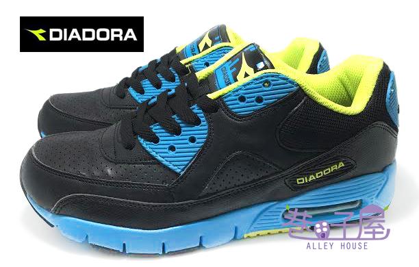【巷子屋】義大利國寶鞋-DIADORA迪亞多納 男款四大機能亮色氣墊運動慢跑鞋 [6576] 黑藍 超值價$790
