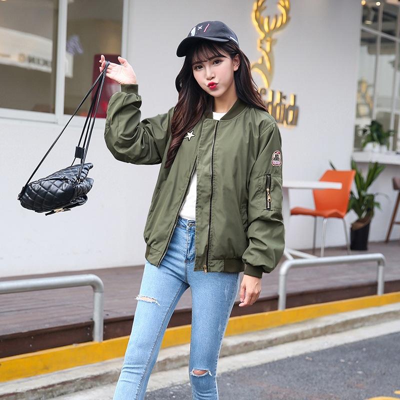 PS Mall 韓版春秋軍綠色休閒短款棒球服飛行員夾克衫外套【T2143】