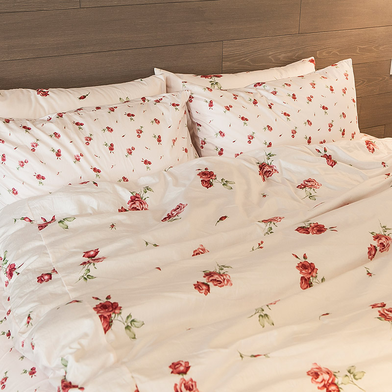 床包 / 單人【玫果雪酪-粉】含一件枕套,100%精梳棉,在巴黎遇見系列,浪漫碎花,戀家小舖台灣製