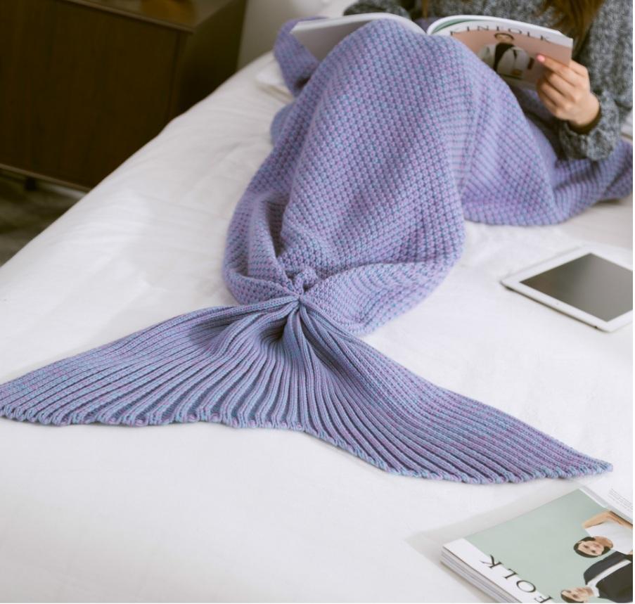 藍色海洋的傳說- 深海幽藍 --限量優惠 美人魚尾巴 針織毛毯 暖被 冷氣毯 大號款