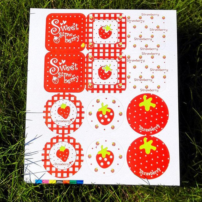=優生活=「優惠買一送一」韓國草莓封口貼紙 烘焙貼紙 裝飾貼紙 禮物包裝貼紙 12枚