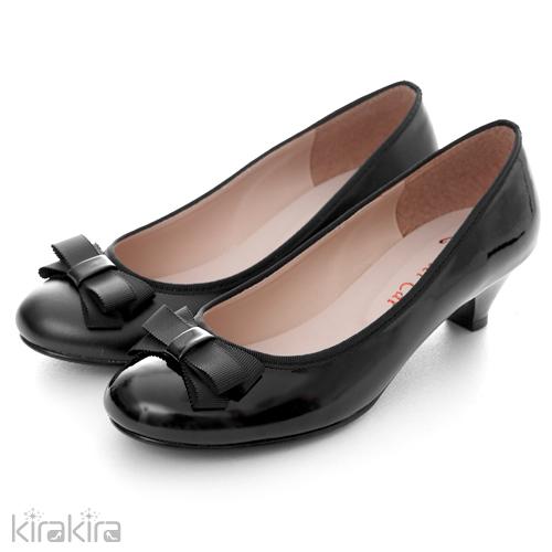 俐落black穿搭 / 低跟鞋-kirakira –雜誌首推蝴蝶結高貴低跟鞋