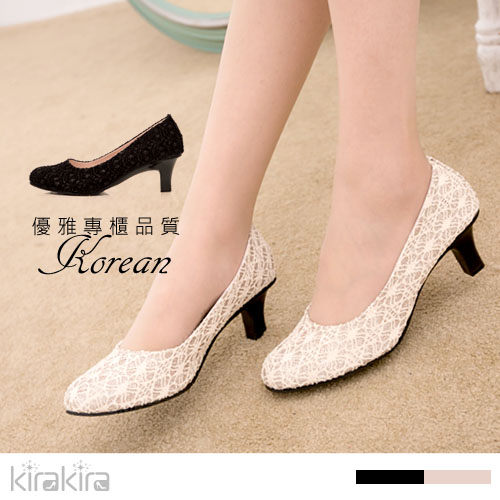 低跟鞋  SALE 氣質典藏花朵蕾絲亮粉尖頭低跟包鞋