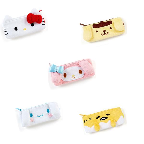 三麗鷗絨毛造型手帳專用彈性筆袋(Kitty, Melody,蛋黃哥,布丁狗,大耳狗)