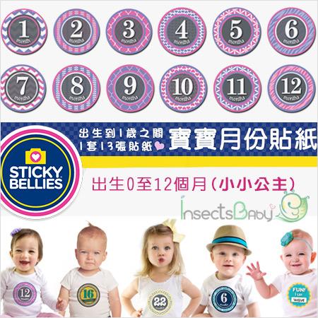 +蟲寶寶+【美國Sticky Bellies  】新生寶寶創意好禮-寶寶月份貼紙0-12M-(小小公主)《現+預》