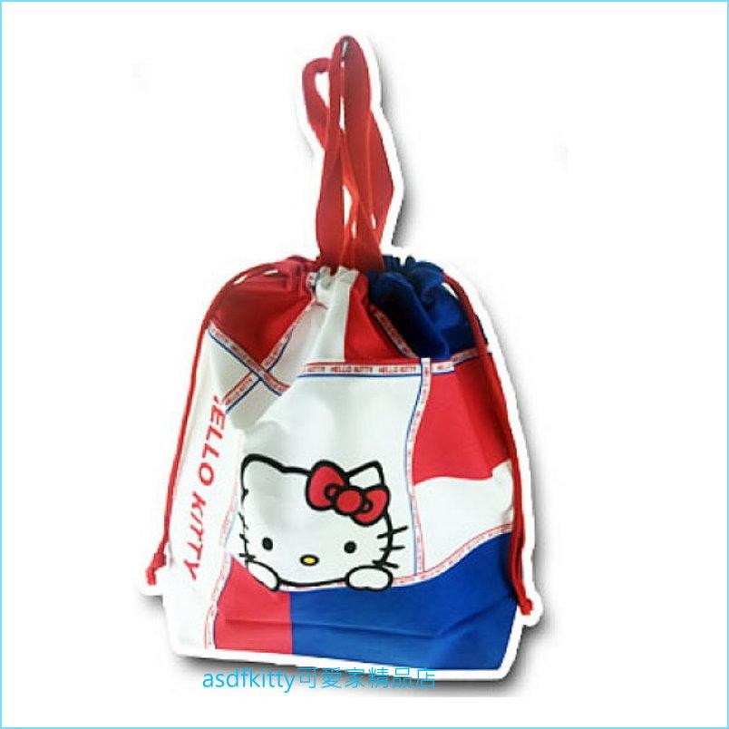 asdfkitty可愛家☆KITTY束口手提袋-大的-收納袋/置物袋/購物袋-日本製