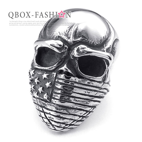 《 QBOX 》FASHION 飾品【W10025251】精緻個性骷髏頭美國旗口罩鑄造316L鈦鋼戒指/戒環