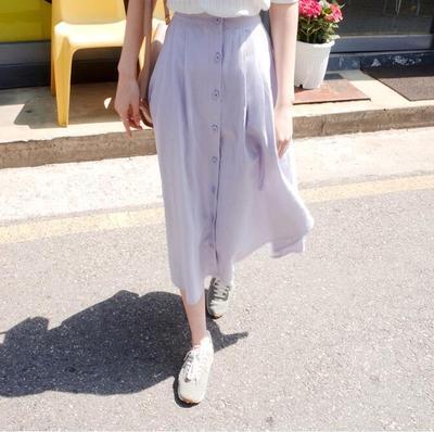 PS Mall 韓版素面單排扣棉麻長裙 A字裙 裙子 【T1396】