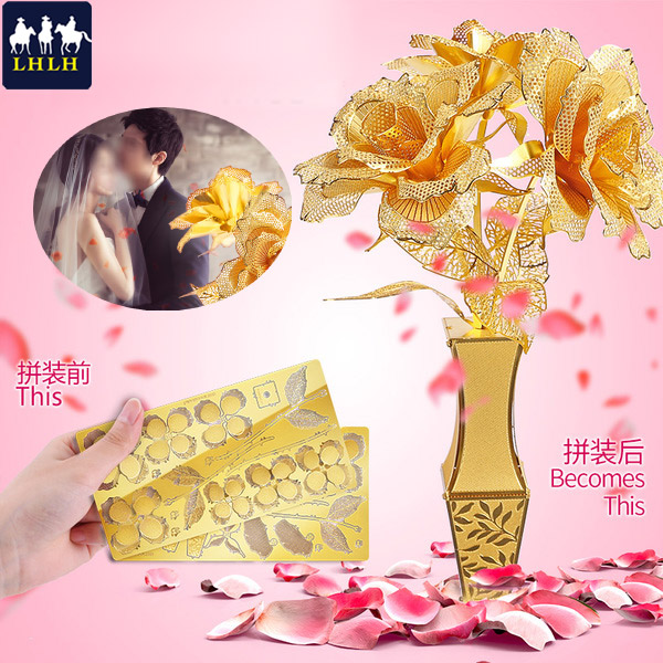 情人節禮物 玫瑰金 24k金箔玫瑰花 生日禮物 立體拼圖 金屬模型 【現貨】