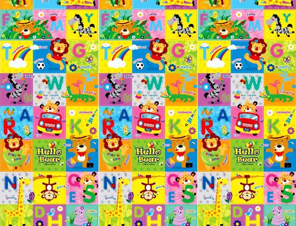 【淘氣寶寶】【原裝進口】 韓國製 帕龍 爬行地墊 安全無毒防水抗菌 單面無包邊/可以裁切 (PE*200*150*1cm)Hello Bear 英文遊戲墊