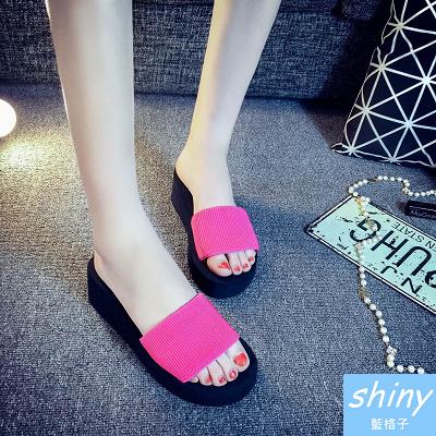 【X018】shiny藍格子-潮流時尚.簡約鬆糕一字厚底涼拖鞋