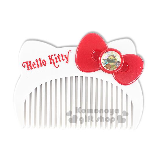 〔小禮堂〕Hello Kitty 造型平扁梳子《白.大臉.盒裝》