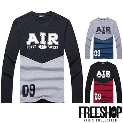Free Shop【QR95015】日韓風格撞色拼接AIR數字09印花圓領棉質長T長袖上衣潮T 三色