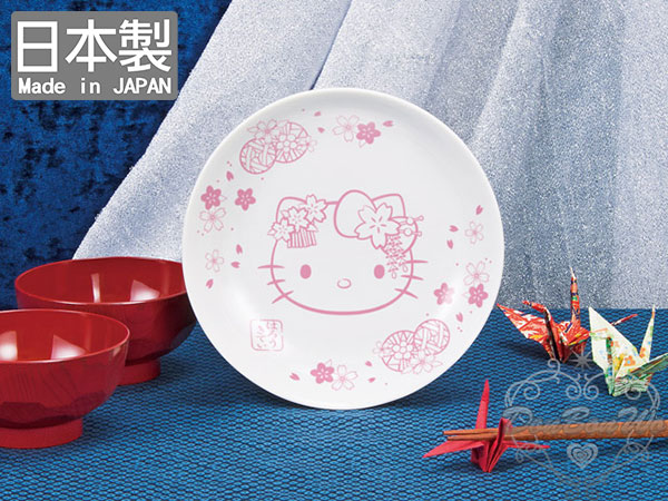 EIKOH景品日本製KITTY超大30cm陶瓷餐盤水果圓盤櫻花和服081205海渡