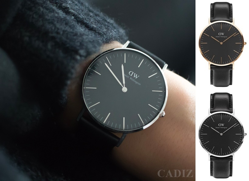 【Cadiz】瑞典正品 Daniel Wellington DW錶  DW00100127金DW00100133銀 Classic Black Sheffleld 40MM 黑色真皮皮革 黑色錶盤 2016新款 對錶 情侶錶 男女錶  [代購/ 現貨]