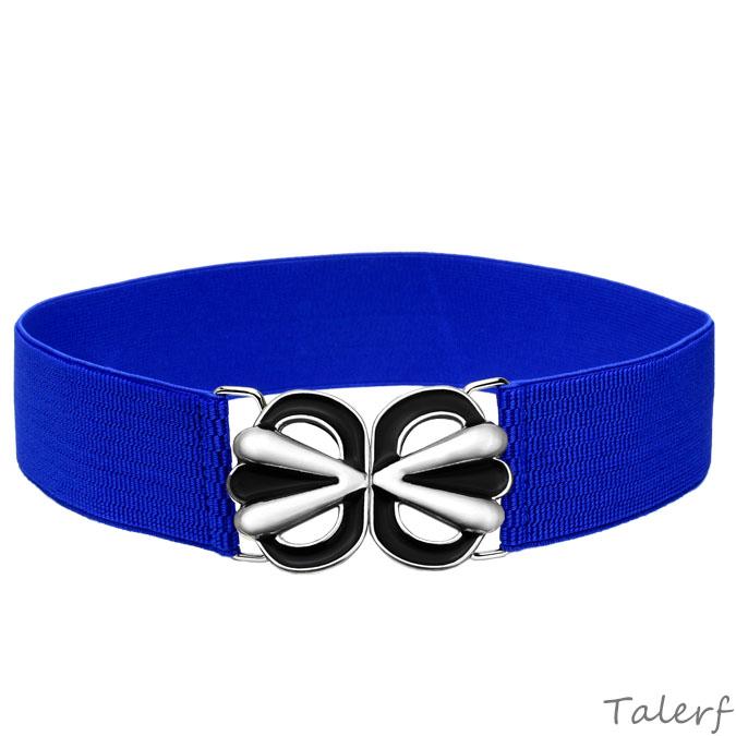 女用腰封女皮帶優雅簡約甜美彩釉腰帶(藍色)→現貨