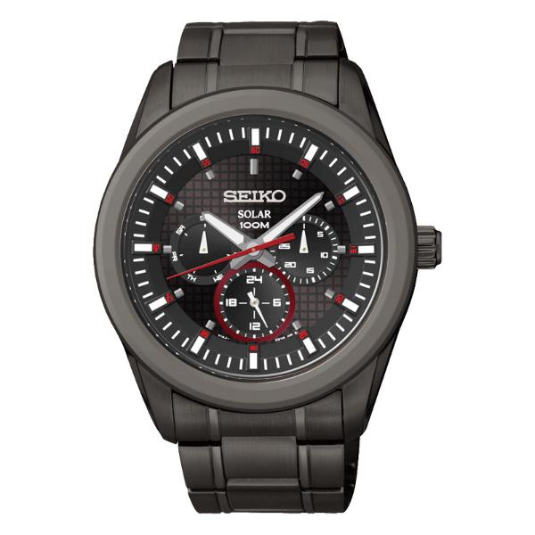 Seiko Spirit V14J-0CD0SD(SNE355P1)日曆三環太陽能腕錶/黑紅面42mm