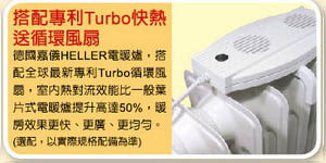 德國 HELLER嘉儀 Turbo 快熱送循環風扇  KE-01F / KE01F