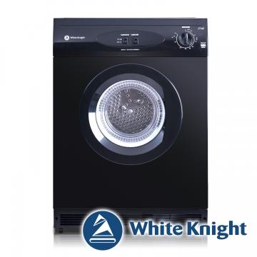 ★限量贈美式咖啡機 White Knight 600AB 6kg 滾筒式乾衣機 黑色◆含到府基本安裝◆英國原裝進口