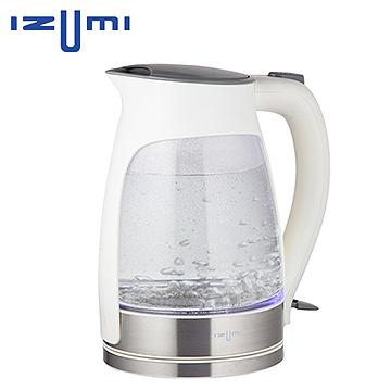 日本 IZUMI 1.7L 玻璃彩光快煮壺 TEK-100 ★玻璃壺身透明設計,搭配藍彩炫麗燈光 TEK100