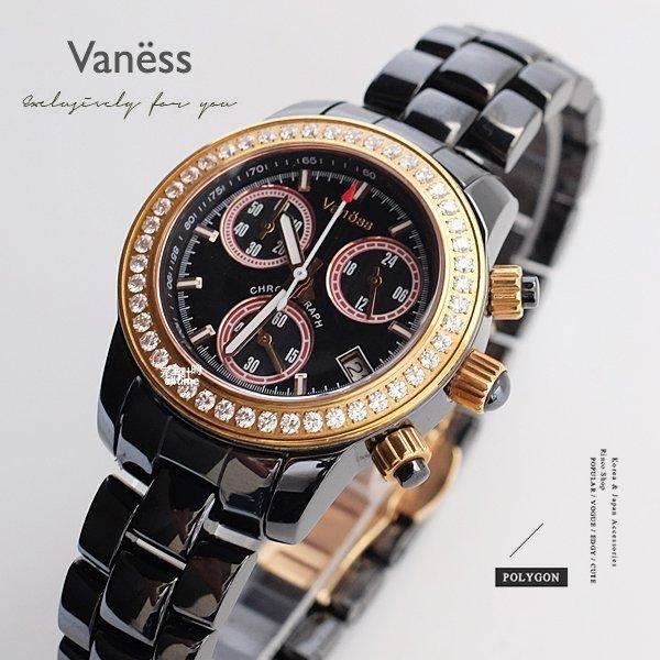 【完全計時】手錶館│Vaness 時尚經典三眼 精密陶瓷腕錶 晶鑽款 V22BDL 下殺 禮物