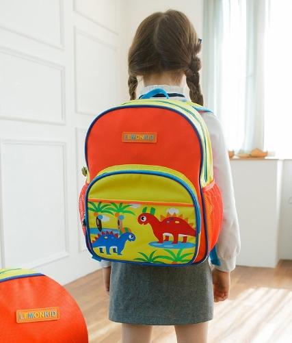 Lemonkid◆糖果拚色可愛卡通貓頭鷹恐龍樂園汽車圖案兒童書包雙肩包後背包-恐龍款